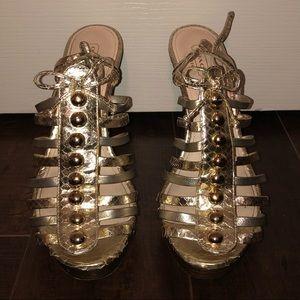 Coach Sarafina gold metallic snakeskin heels 8
